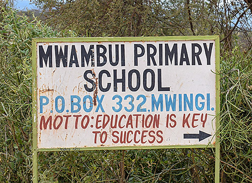 Just a Drop Mwambui Primary School Sign